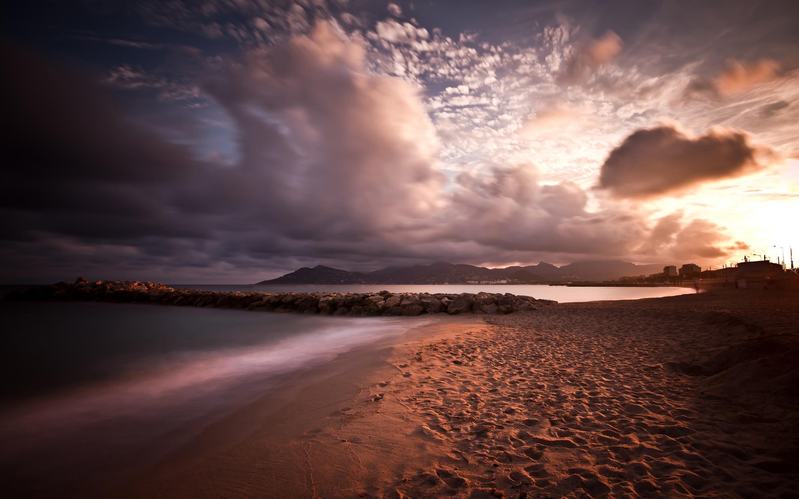 Пляж песок закат скачать