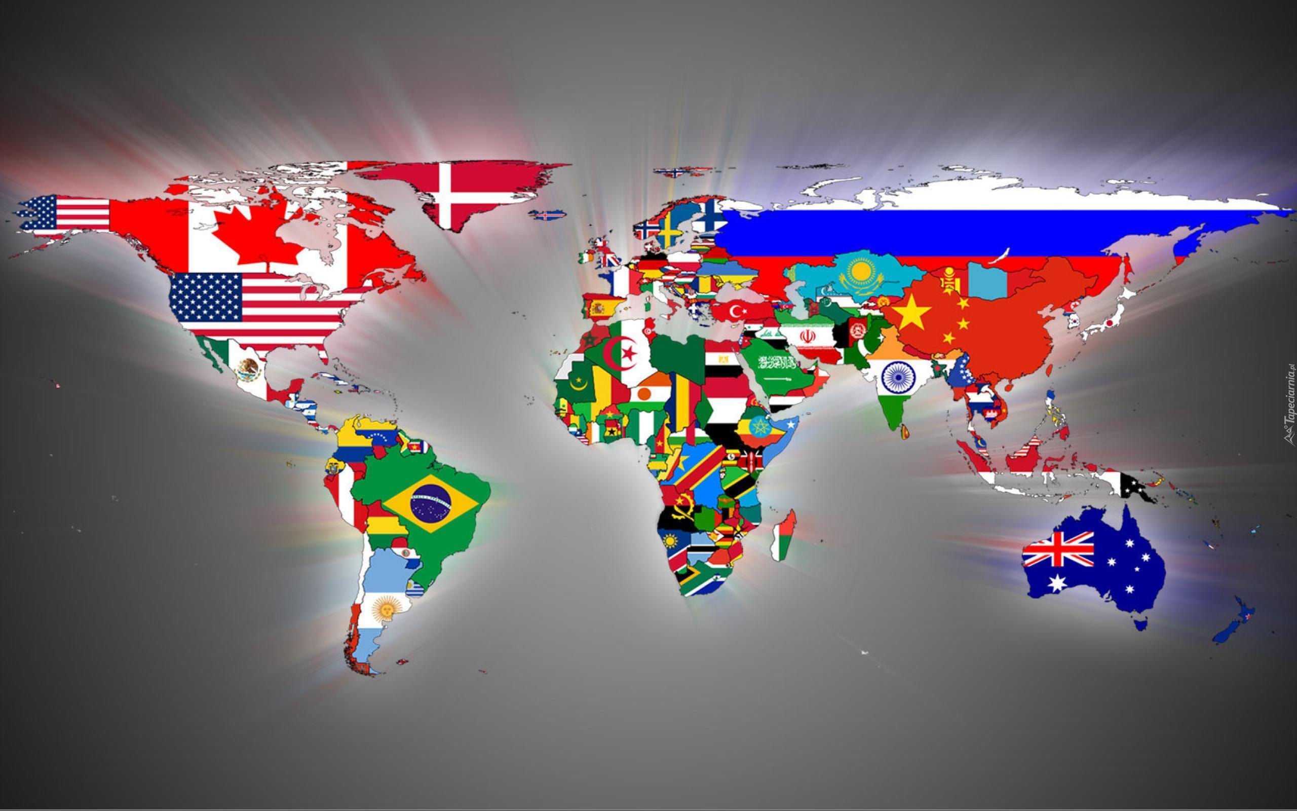 Mapa Swiata Flagi