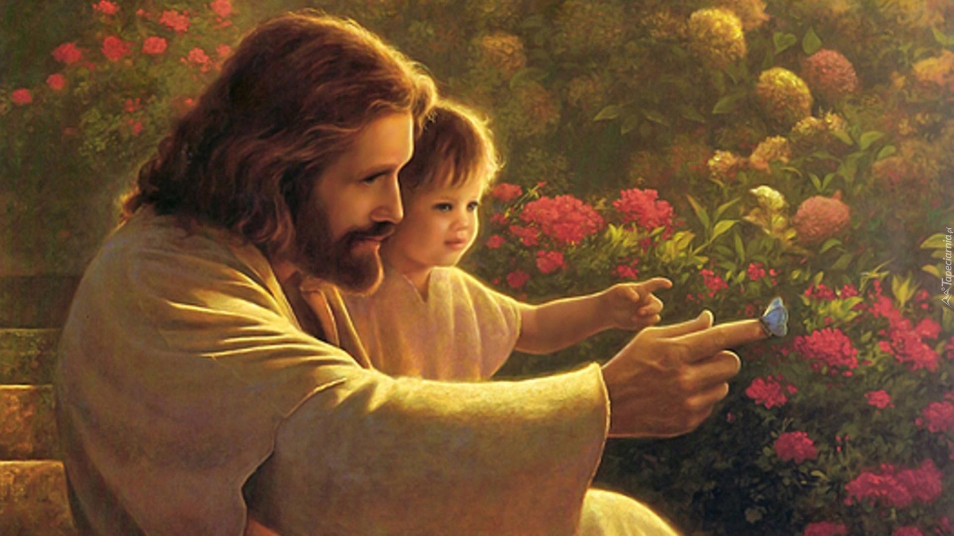 Jezus, Dziecko, Motyl, Kwiaty