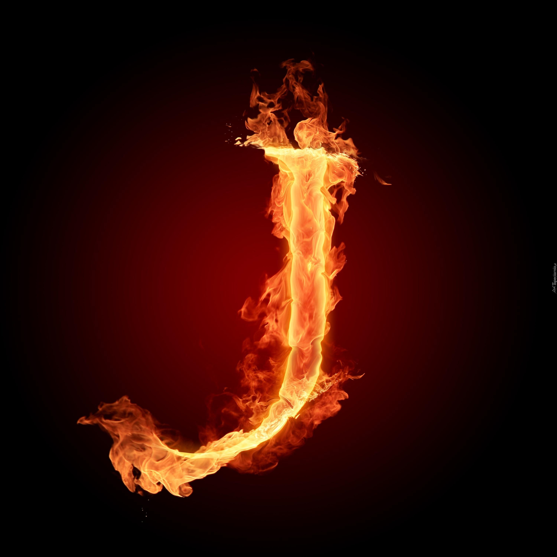 Litera J Ogień