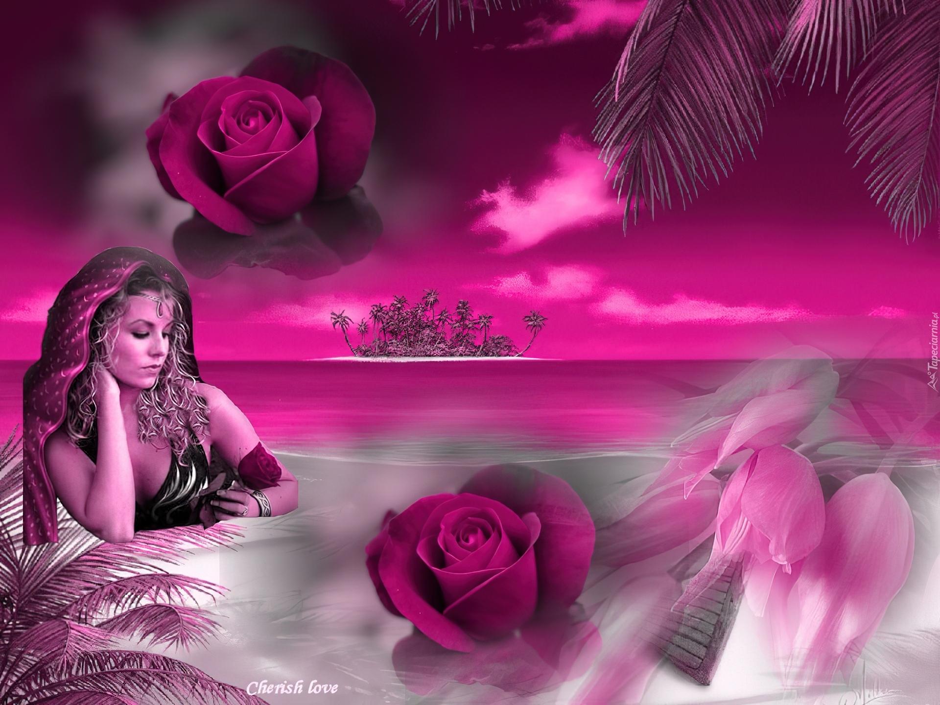 Kobieta, Kwiaty, Palmy
