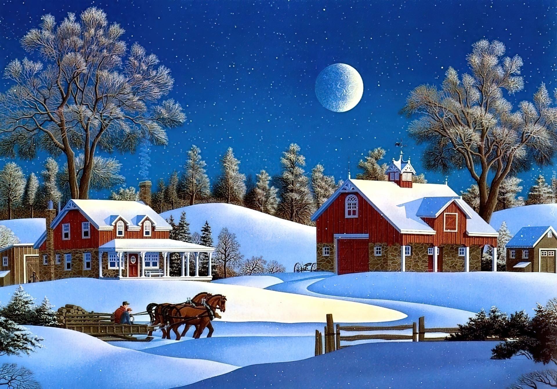 Новогодние открытки с зимним пейзажем 80 годов