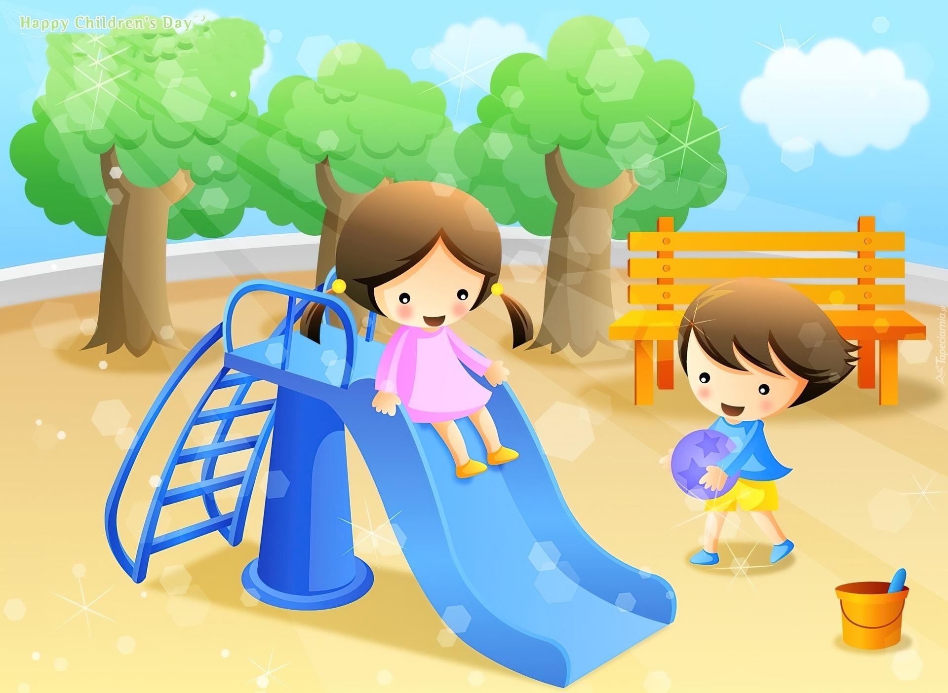 Znalezione obrazy dla zapytania dzieci na placu zabaw