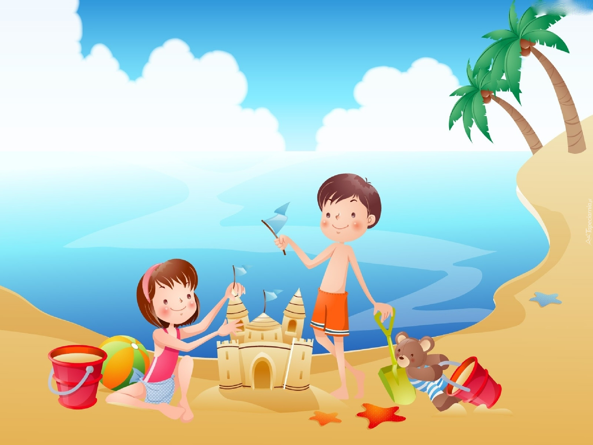 Dzieci, Morze, Plaża, Zabawa