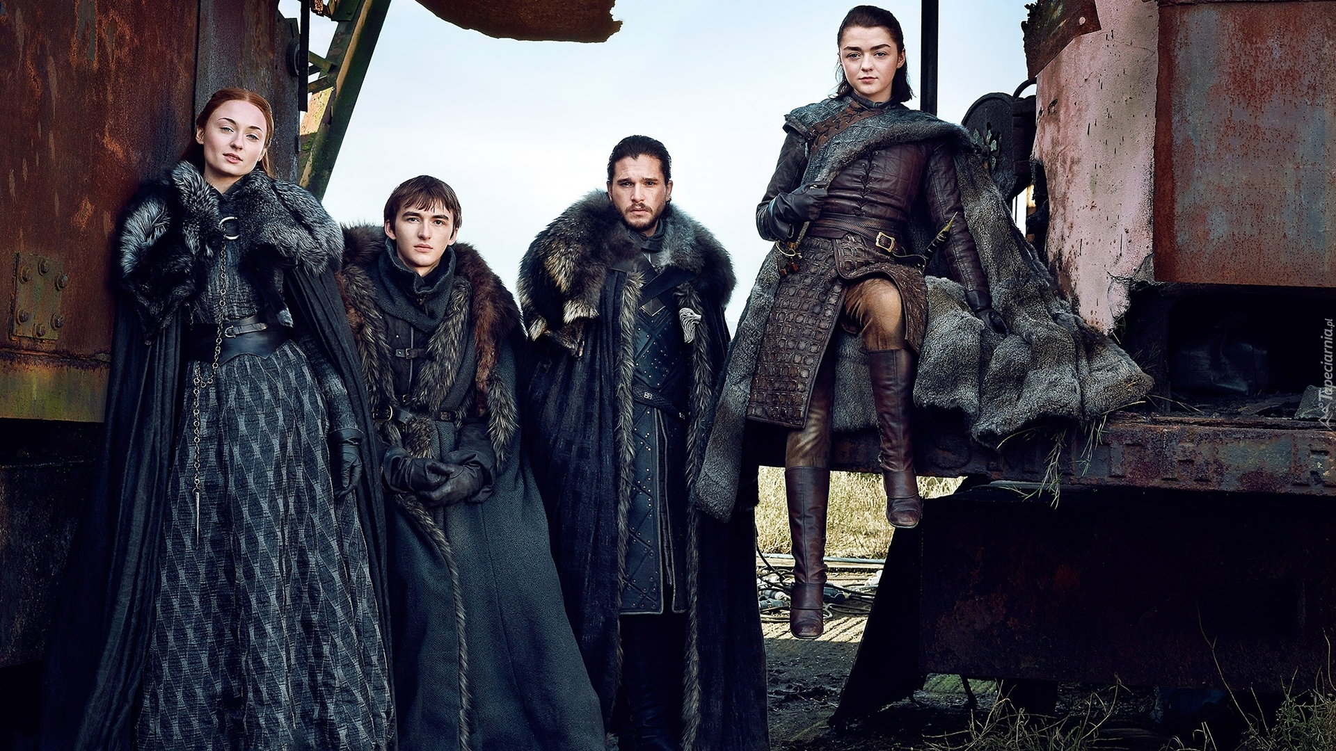 Gra o Tron, Game of Thrones, Sophie Turner - Sansa Stark, Isaac Hempstead-Wright - Bran Stark, Kit Harington - Jon Snow, Maisie Williams - Arya Stark