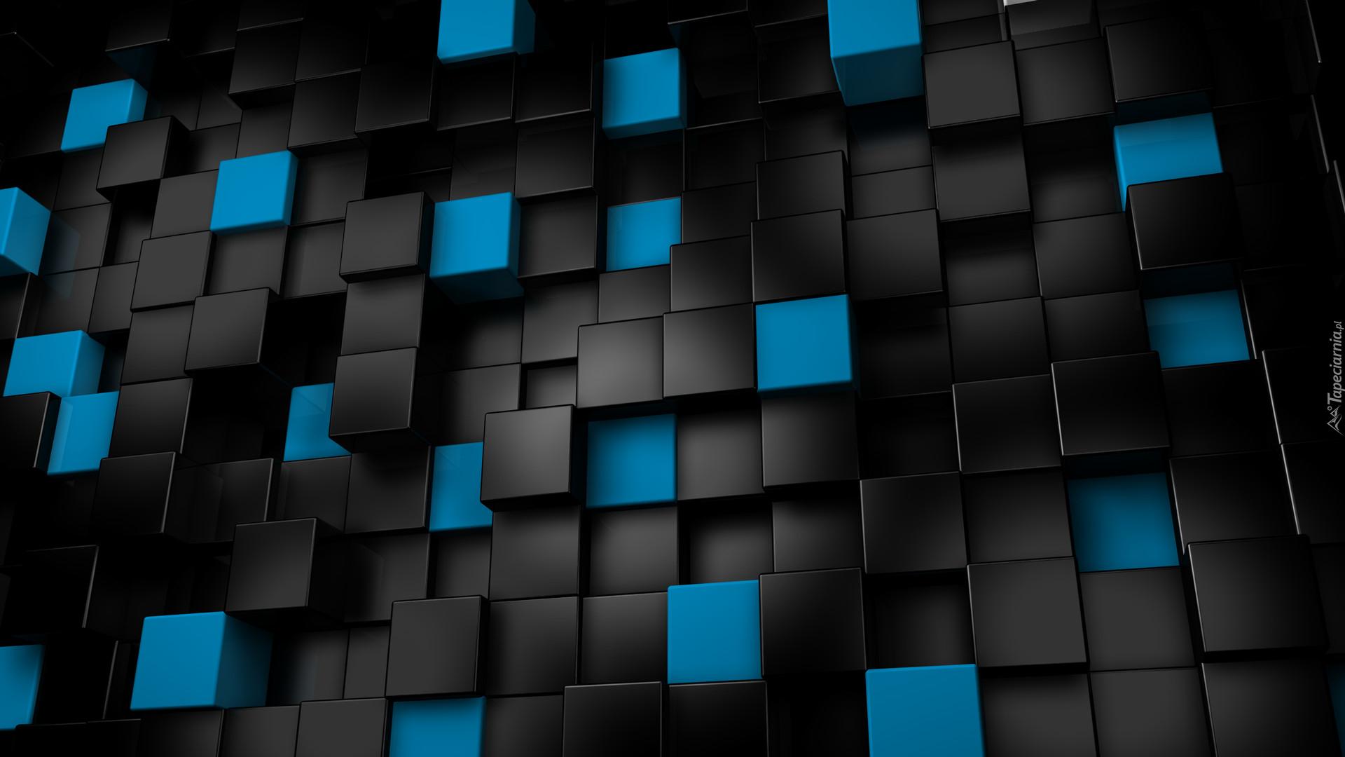 Czarne I Niebieskie Sześciany W 3d