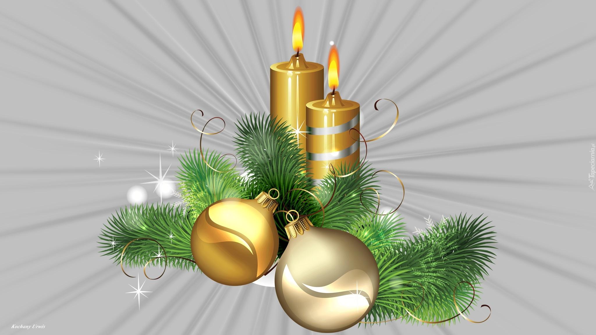 Grafika bożonarodzeniowa ze świecą i bombkami