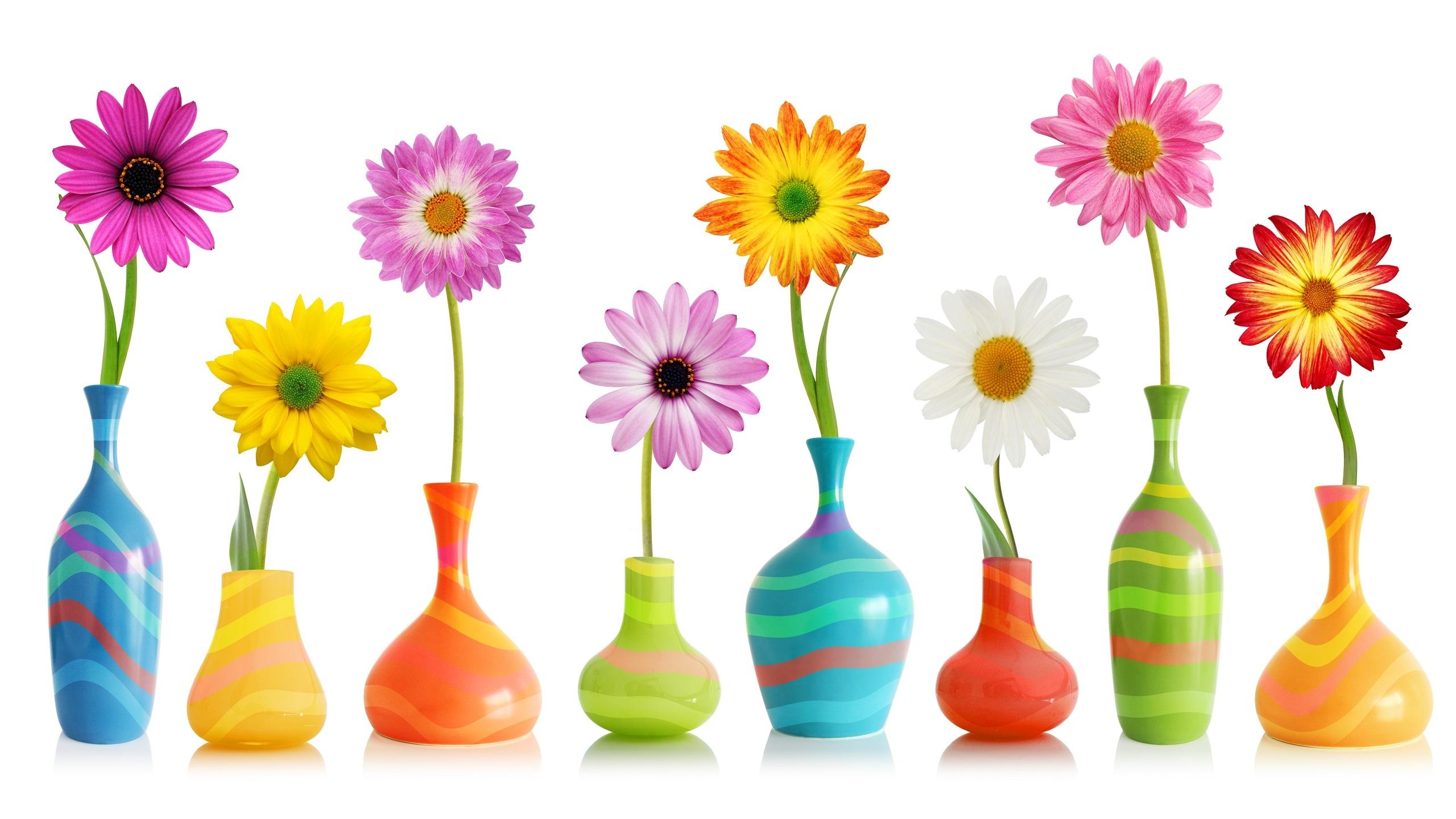 Kolorowe kwiaty we wzorzystych wazonikach