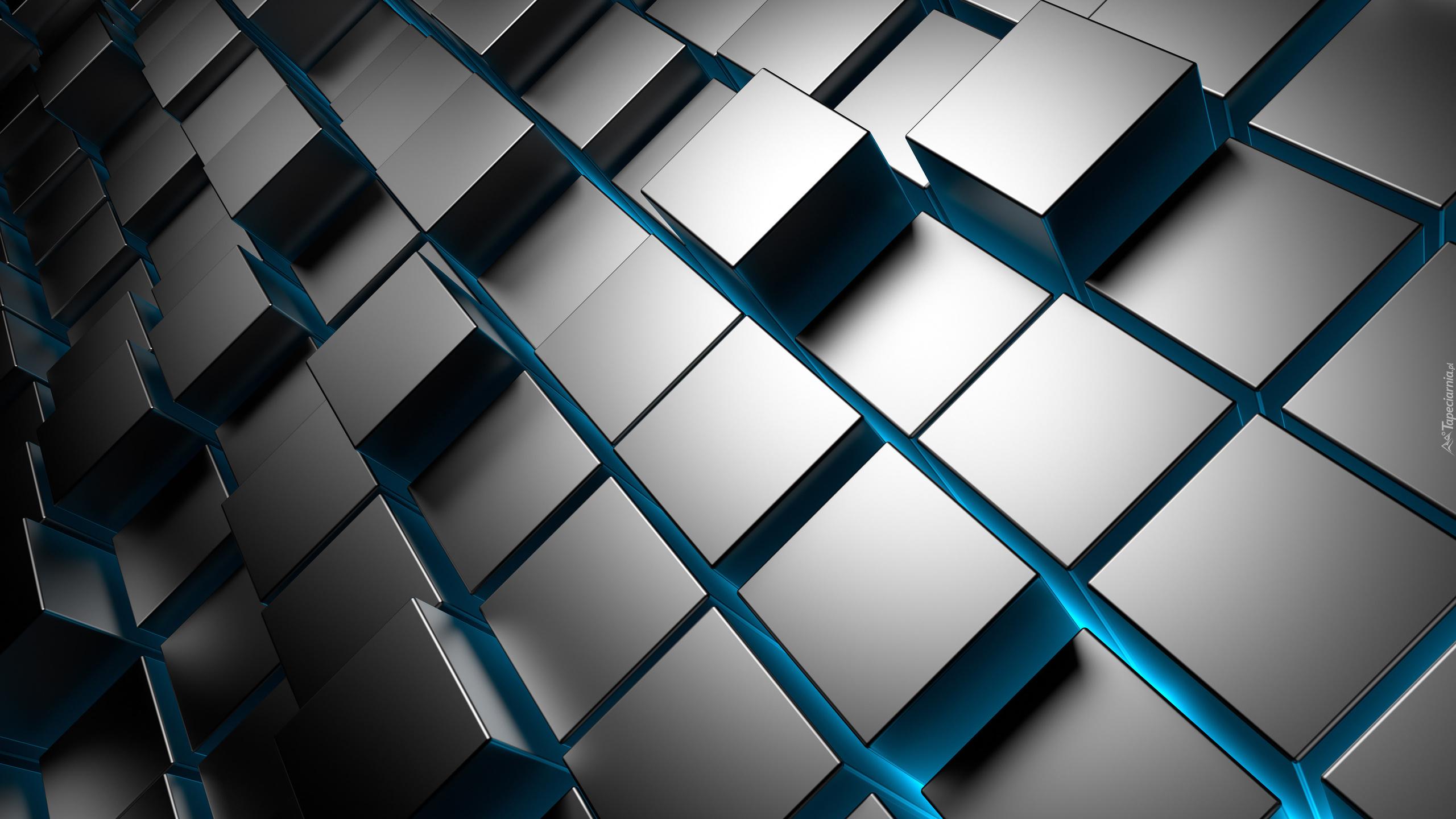 3d Blue Abstract Qhd Full Hd Wallpaper: Kostki W Grafice 3D