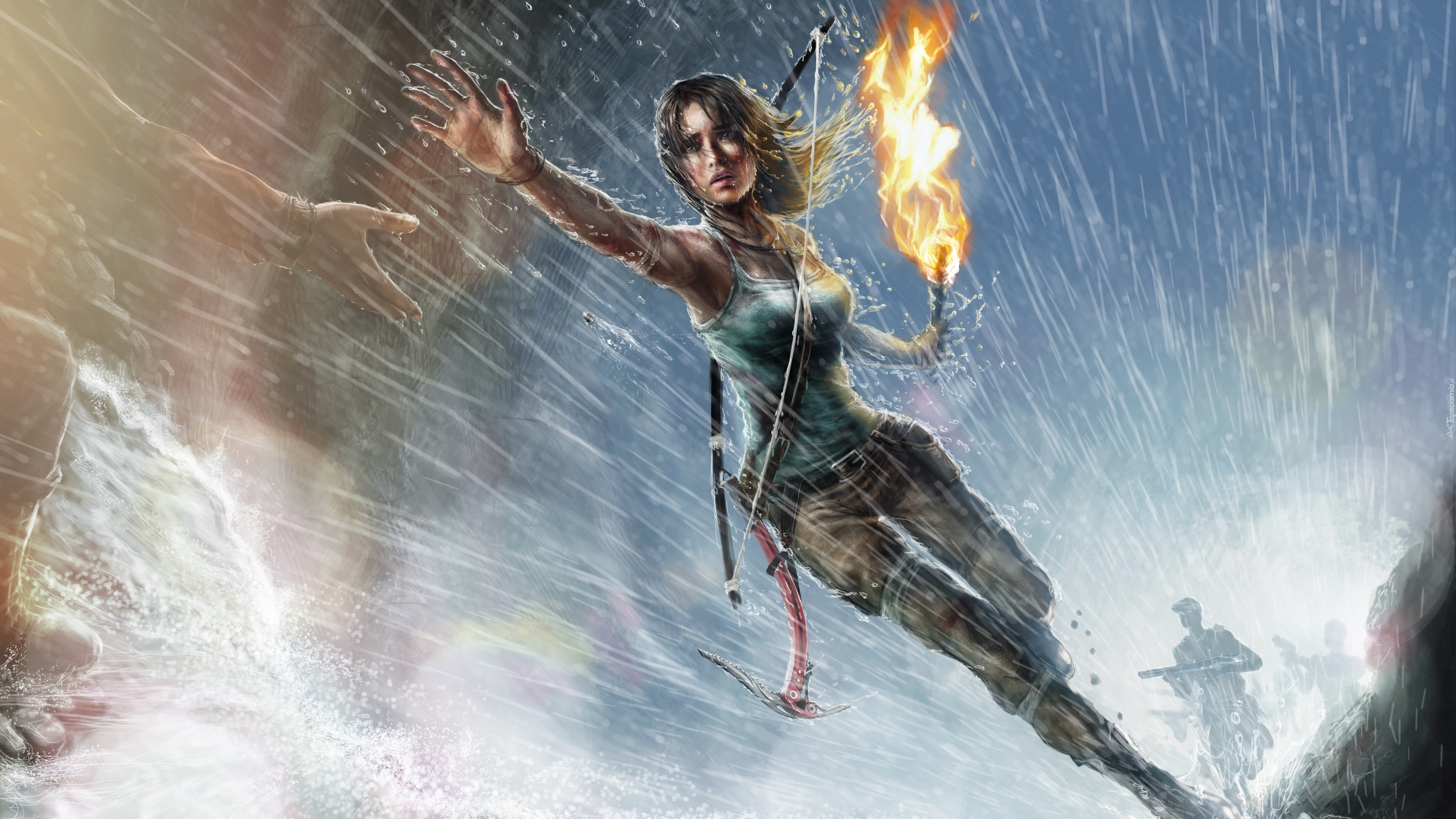 Gra, Rise of the Tomb Raider, Lara Croft, Ręka, Pochodnia, Łuk