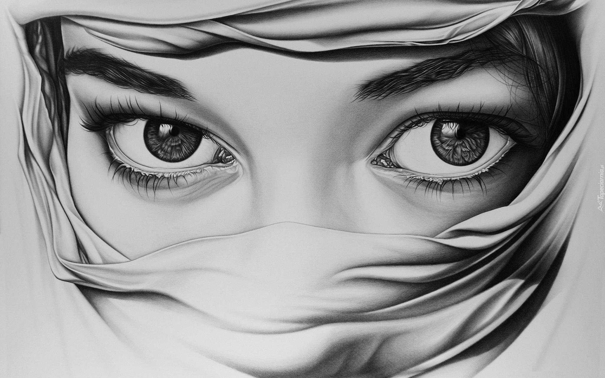 Rysunek Zasłoniętej Twarzy Kobiecej Wykonany Ołówkiem
