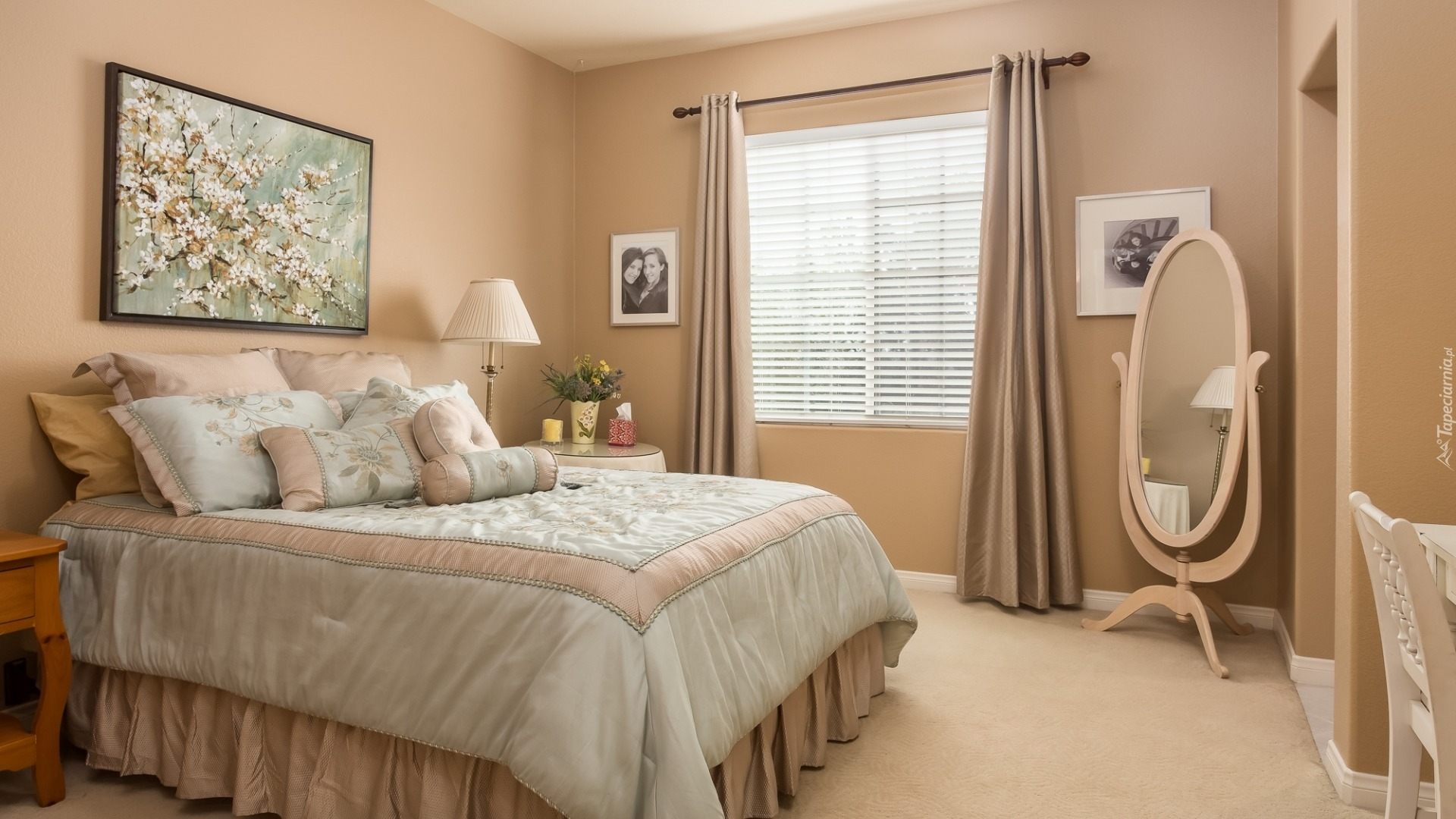 Wnętrze Sypialni Z łóżkiem I Dużym Lustrem