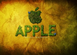 Apple, Logo, Napis, Trawa
