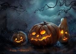 Halloween, Straszne, Dynie, Grafika