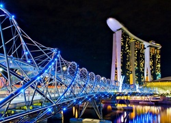 Most, Hotel, Marina, Bay, Stands, Fragment, Singapuru, Nocą