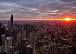 Chicago, Panorama, Miasta, Świt