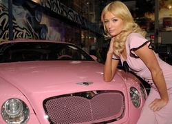 Różowy, Bentley, Continental, Paris, Hilton