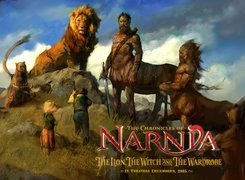 The Chronicles Of Narnia, lew, dzieci, napis, centaur