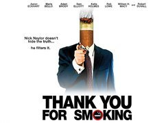 Thank You For Smoking, plakat, papieros, garnitur, zapalniczka, Aaron Eckhart