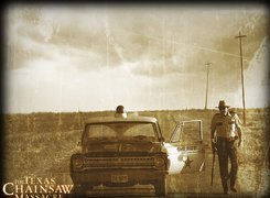 Texas Chainsaw Massacre The Beginning, szeryf, droga, radiowóz