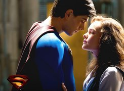Superman Returns, Brandon Routh, Kate Bosworth, logo, zbliżenie