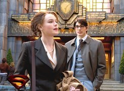 Superman Returns, Kate Bosworth,  Brandon Routh, zegar, płaszcz, budynek