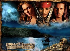 Piraci Z Karaibow Johnny Depp, Keira Knightley, Orlando Bloom, księżyc, woda