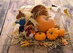 Dynie, Kosz, Kukły, Halloween