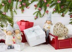 Świąteczne, Dekoracja, Figurki, Aniołki, Prezenty, Gałązki