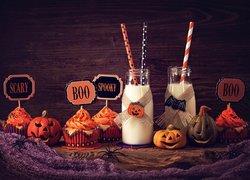 Halloween, Dynie, Babeczki, Mleko