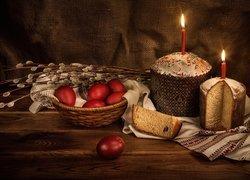 Wielkanoc, Kompozycja, Bazie, Koszyk, Pisanki, Babki, Świeczki, Serwetka
