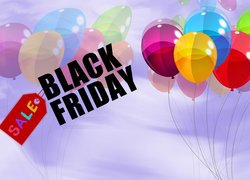Balony obok napisu Black Friday