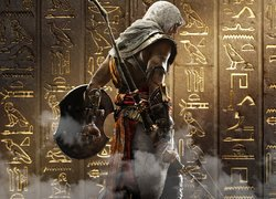 Gra, Assassins Creed Origins, Bayek, Tarcza, Łuk, Ściana, Hieroglify