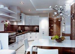 Puzzle Kuchnia Biało Brązowa Stół Krzesła Lampa