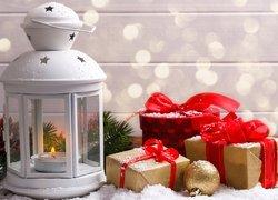 Lampion, Prezenty, Bombka, Gałązka, Boże Narodzenie, Kompozycja
