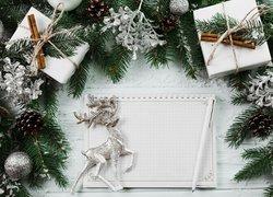 Boże Narodzenie, Gałązki, Prezenty, Bombki, Szyszki, Renifer, Notes, Długopis, Deski