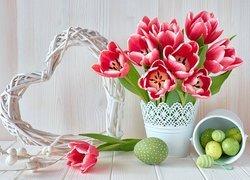Tulipany, Biały, Wazon, Wiaderko, Pisanki, Wiklinowe, Serce, Wielkanoc