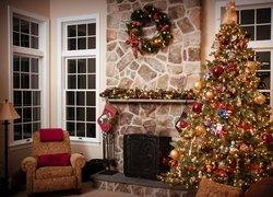 Boże Narodzenie, Pokój, Choinka, Kominek, Fotel, Lampa
