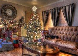 Boże Narodzenie, Święta, Choinka, Salon, Prezenty, Choinka, Kanapa Pies, Zegar