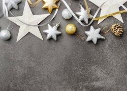 Boże Narodzenie, Złote, Srebrne, Bombki, Gwiazdki, Szyszka, Wstążka, Ciemne, Tło