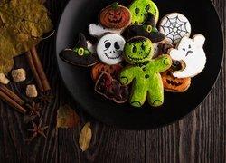 Halloween, Ciasteczka, Liście, Talerz