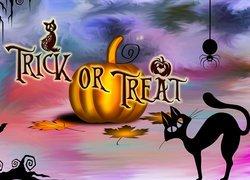 Halloween, Napis, Trick or Treat, Dynia, Kot, Grafika