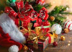 Czapka, Mikołaja, Prezenty, Bombki, Gałązki, Boże Narodzenie