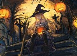 Halloween, Czarownica, Dziewczyna, Schody, Dom, Księżyc, Dynie
