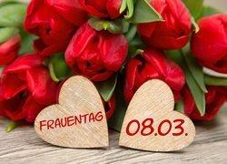 Dzień Kobiet, Bukiet, Czerwone, Tulipany, Serca, Napis