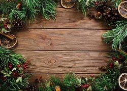 Boże Narodzenie, Dekoracja, Gałązki, Żołędzie, Szyszki, Cynamon, Deski