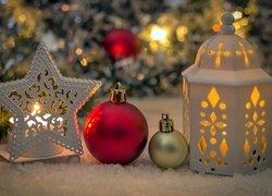 Boże Narodzenie, Lampion, Bombki, Gwiazda, Świeca