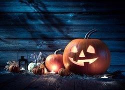 Kompozycja, Halloween, Dynie, Światło