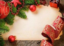 Boże Narodzenie, Świąteczna, Dekoracja, Wstążka, Czerwone, Bombki, Prezent, Gałązki, Gwiazdki, Kartka, Deski, Koraliki