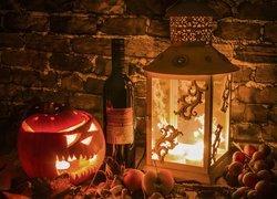 Kompozycja, Halloween, Dynia, Świeczka, Butelka, Wino, Lampion